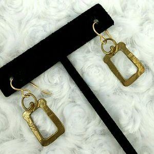 Vintage Gold Tone Rectangular Dangle Earrings